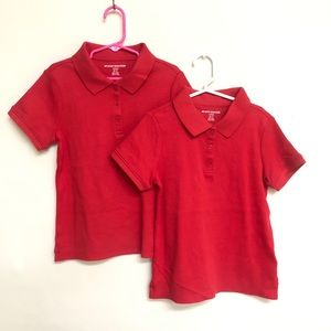 Set of two NEW Girls small 6-7 red polo shirts